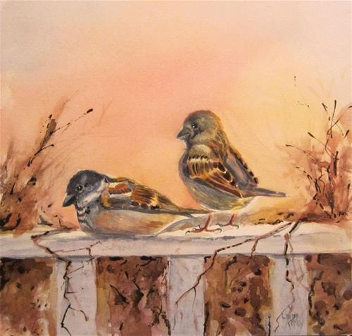 """Rise and Shine, Watercolor Birds by Linda McCoy"" original fine art by Linda McCoy"