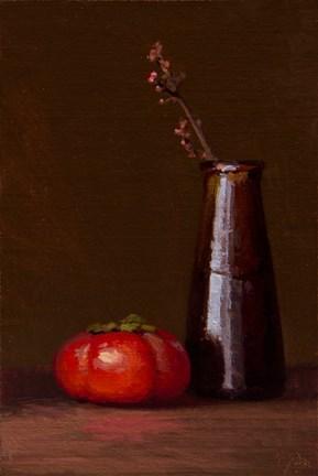 """Still life with Persimmon & Mistletoe - 24-hour auction"" original fine art by Abbey Ryan"