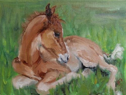 """""""Sleepy Foal"""" original fine art by H.F. Wallen"""