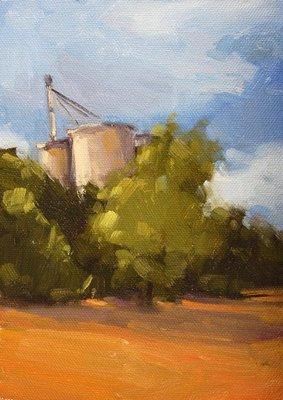 """Grain Silos"" original fine art by Laurel Daniel"