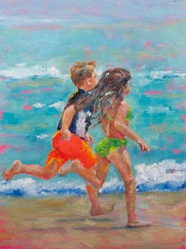 """Racing to the Beach"" original fine art by Sue Churchgrant"