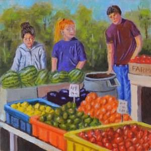 """Farmers Market Workers"" original fine art by Robert Frankis"