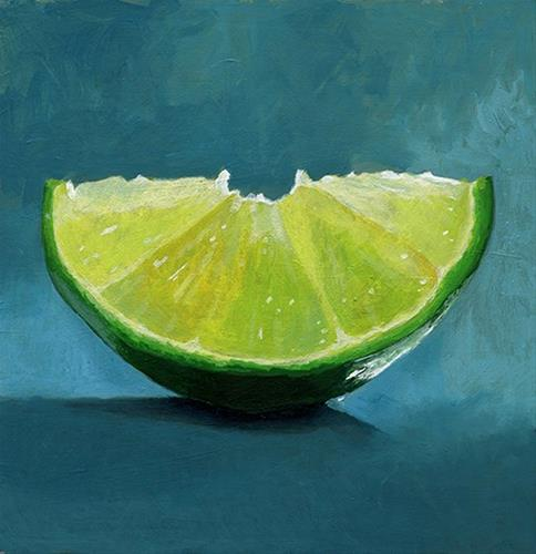 """""""lime slice acrylic painting"""" original fine art by Ria Hills"""