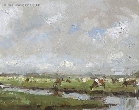 """""""Cows and Clouds - LP#2 painting Koeien (available)"""" original fine art by Roos Schuring"""