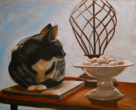 """Libby and the Lamp"" original fine art by Claire Henning"