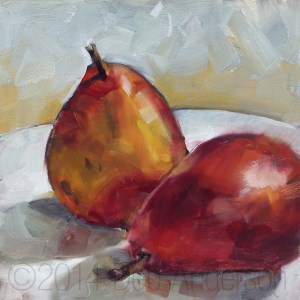"""""""Oil Painting: Red D'Anjou Pears"""" original fine art by Deb Anderson"""