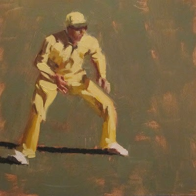 """""""IN THE FIELD 2 - Cricket at the MCG"""" original fine art by Helen Cooper"""