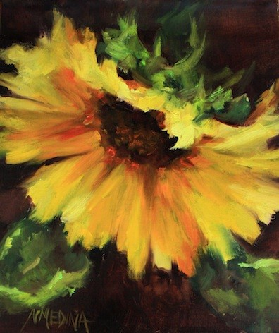 """""""Reviews Are In! Painting Brilliant Colors Opens Today"""" original fine art by Nancy Medina"""