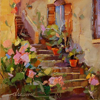 """""""Rose Steps of Italy SOLD"""" original fine art by Dreama Tolle Perry"""