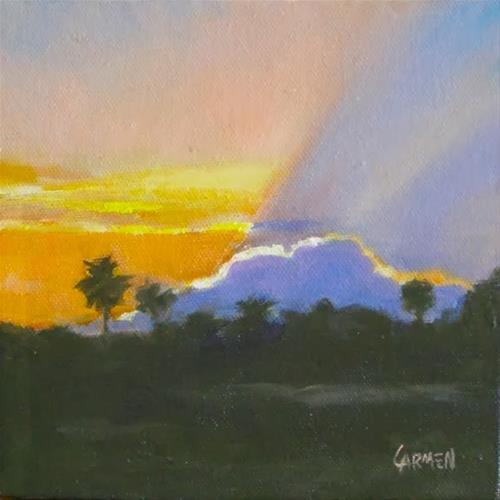 """""""Rise and Shine, 6x6 Oil Painting on Canvas"""" original fine art by Carmen Beecher"""