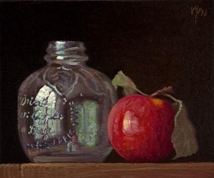 """Vintage Apple Juice Bottle with Apple and Leaf"" original fine art by Abbey Ryan"