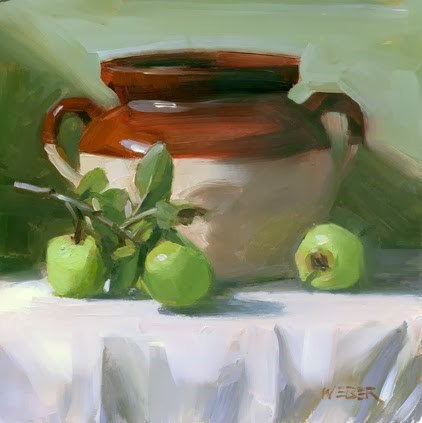 """Apples and bean pot"" original fine art by Kathy Weber"