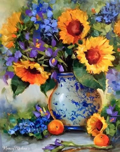 """SOLD ~ Irises and Sunflowers in Sunny San Diego by Floral Artist Nancy Medina"" original fine art by Nancy Medina"
