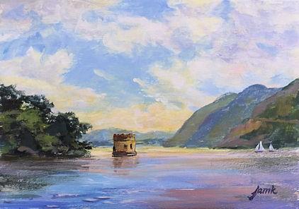 """Sailing Past Storm King and Bannerman Island"" original fine art by Jamie Williams Grossman"