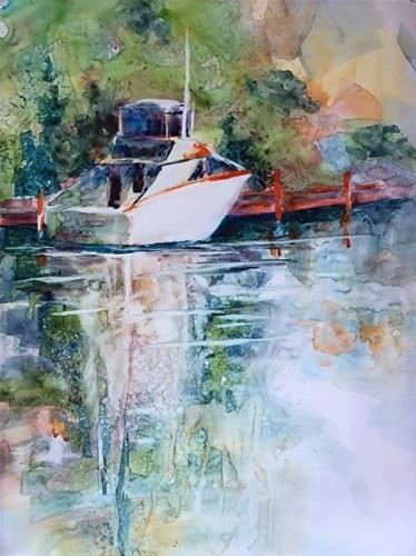 """Resting in Holland, 15 x 11 Watercolor, Landscape"" original fine art by Donna Pierce-Clark"