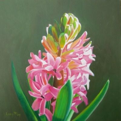 """Almost Spring, Pink Hyacinth Oil Painting by Linda McCoy"" original fine art by Linda McCoy"