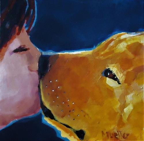 """Pooch Smooch"" original fine art by Laurie Mueller"