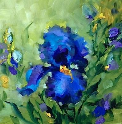 """Lapis Lazuli Iris Solo - Flower Paintings by Nancy Medina"" original fine art by Nancy Medina"