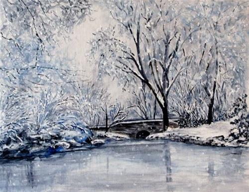 """Winter Stream with Bridge"" original fine art by Nan Johnson"