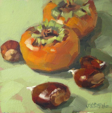 """""""Persimmons & Chestnuts"""" original fine art by Karen Werner"""