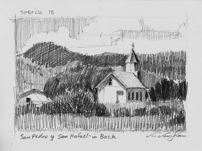 """""""San Pedro From the Back_church, sketch, New Mexico, southwest"""" original fine art by V.... Vaughan"""