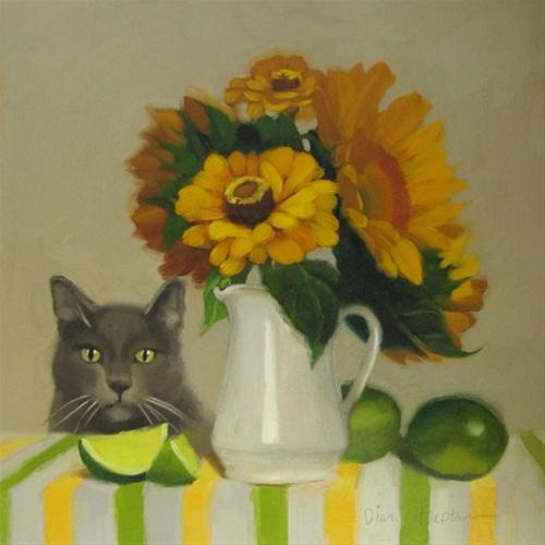 """Zinnias and Coco oil painting of cat and sunflowers"" original fine art by Diane Hoeptner"