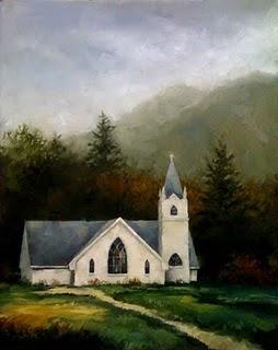 """""""Sunlit Church (the large version)"""" original fine art by Michael Naples"""