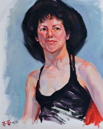 """Wear Black Hat Lady"" original fine art by Michelle chen"
