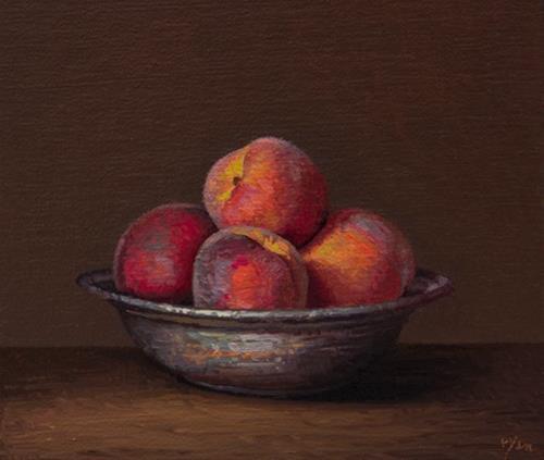 """Peaches in a Copper Bowl"" original fine art by Abbey Ryan"