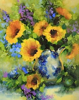 """Sparkle Sunflowers and Delphiniums"" original fine art by Nancy Medina"