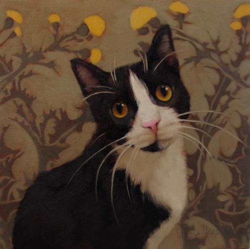 """Brambles cop car kitty on pattern"" original fine art by Diane Hoeptner"