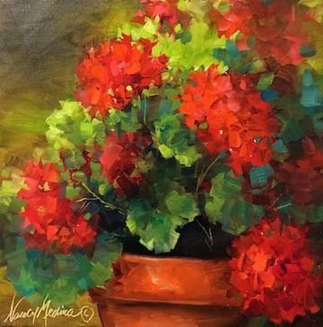 """Summer Siesta Geraniums - Flower Paintings by Nancy Medina"" original fine art by Nancy Medina"