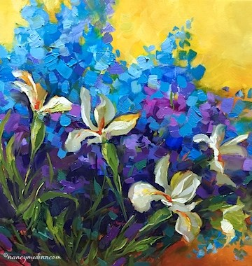 """Violet Ballet Irises and Delphiniums - Flower Paintings by Nancy Medina Art"" original fine art by Nancy Medina"