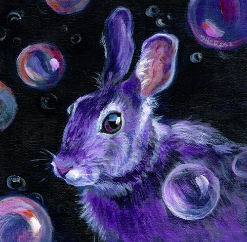 """""""Bunny with Bubbles"""" original fine art by Theresa Taylor Bayer"""