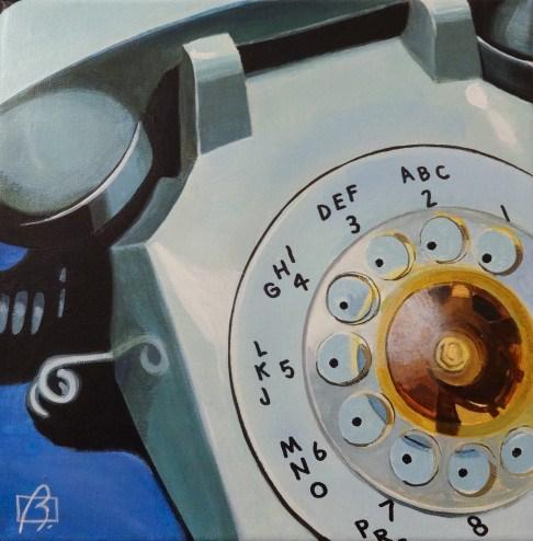 """Blue Rotary Telephone"" original fine art by Andre Beaulieu"