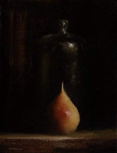 """""""Bottle with Pear"""" original fine art by Neil Carroll"""