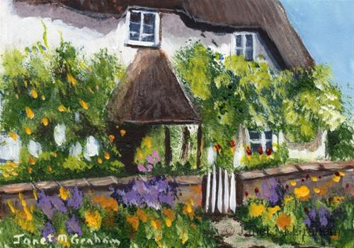 """""""Country Cottage ACEO"""" original fine art by Janet Graham"""