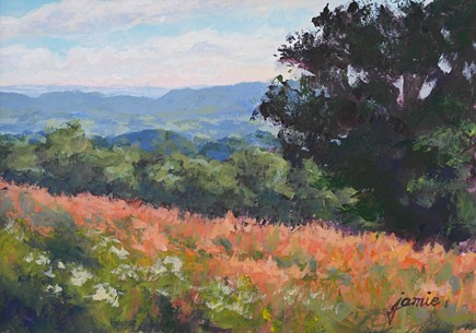 """Overlooking the Fields 5×7"" original fine art by Jamie Williams Grossman"