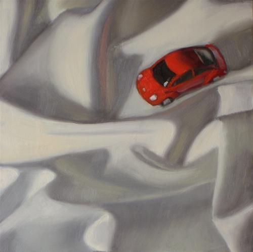 """""""In a rut   6x6  oil on board"""" original fine art by Claudia Hammer"""