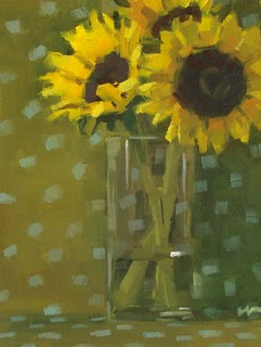 """Sunflower Dots"" original fine art by Carol Marine"