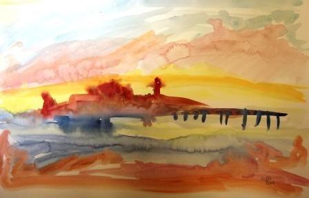 """Lighthouse at Dawn"" original fine art by Nancy Hall"