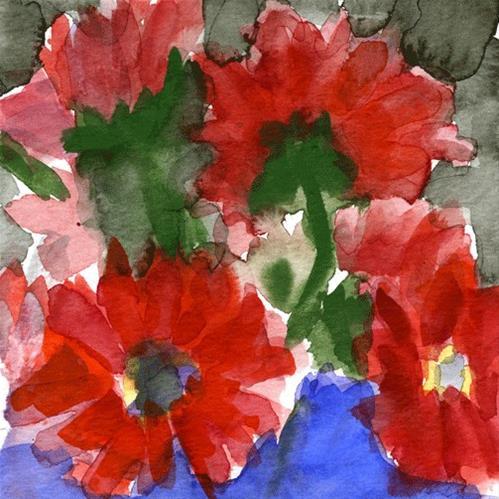 """Blue Vase Red Flowers"" original fine art by Donna Crosby"