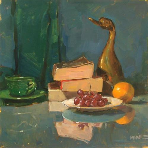 """Good Reading and a Duck"" original fine art by Carol Marine"