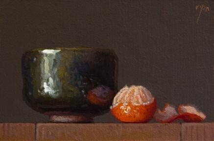 """Peeled Tangerine and Handmade Korean Bowl (+ Exhibition near Austin, TX)"" original fine art by Abbey Ryan"