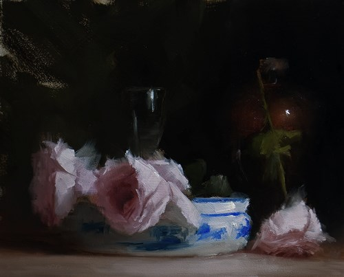 """Arrangement with Roses"" original fine art by Neil Carroll"