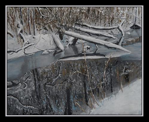 """""""Reflections on a Winter's Day"""" original fine art by Captain B Smith"""