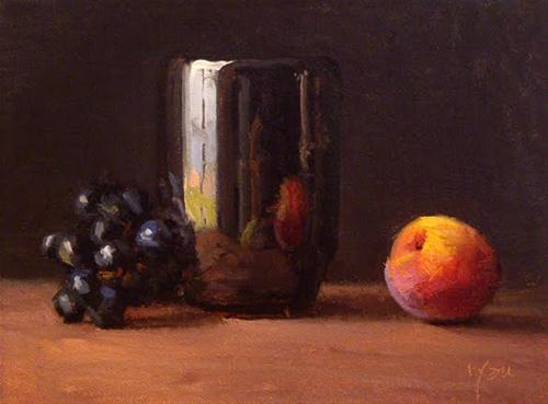 """""""Still Life with Peach and Black Grapes No. 2"""" original fine art by Abbey Ryan"""