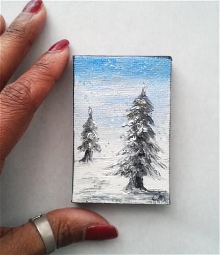"""Winter landscape"" original fine art by Camille Morgan"