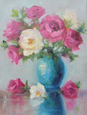 """Roses & Teal"" original fine art by Pat Fiorello"