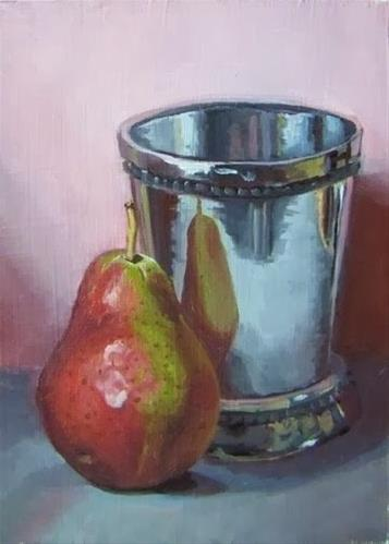 """""""3- Pear and Silver Cup"""" original fine art by Edward Watson"""